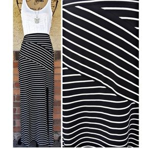 Mossimo black and off white striped maxi skirt